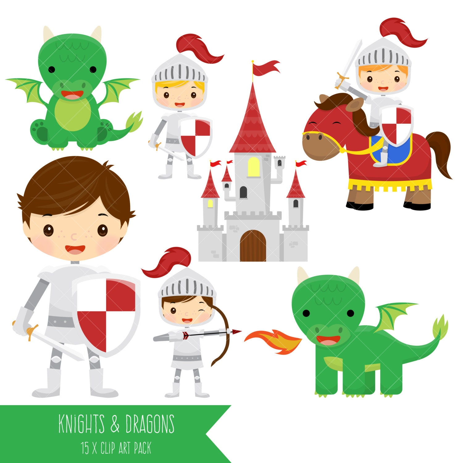 knights and dragons clipart cute dragons clipart fairytale rh etsy com Cute Baby Dragons Cute Dragon Drawings