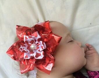 Valentine's Day baby headband, valentine baby headband, heart baby headband, red and white headband, heart headband, red baby headband, cute