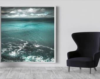 Large Coastal Art, Green, beach canvas large, Seascape canvas art, romantic wall art, abstract coastal art, teal wall art, modern home decor