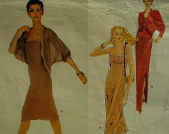 Jerry Silverman Evening Wear Pattern, 80s, Straight, Straps, Fitted Bust, Side Slit, Cucoon Jacket, Vogue American Designer 2328 Size 8
