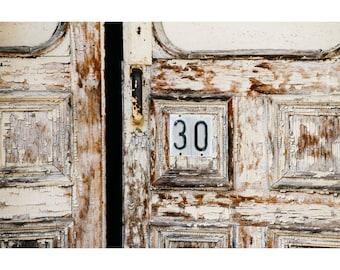 Door Photography Architecture Photography Rustic Decor Abandoned Building Old Door Print Wisconsin Art Numbers Peeling Paint Neutral Decor