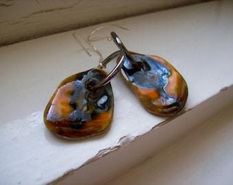 Artisan ceramic earrings. Flat earthstone glazed scales earrings. Raku.Copper,orange,cognac glazes.