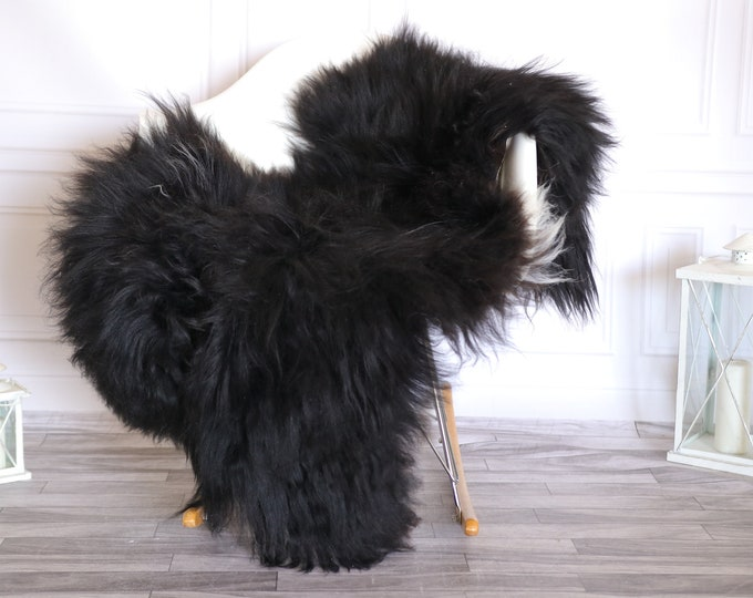 Icelandic Sheepskin | Real Sheepskin Rug |  Super Large Sheepskin Rug Black White | Fur Rug | Homedecor #KOWISL35