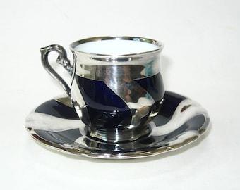 Sterling Silver Overlay Hutschenreuther Porcelain Art Deco Cobalt Demitasse Cup & Saucer Set Germany