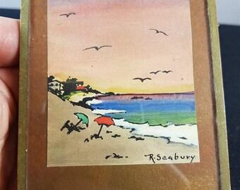 Vintage Miniature Seascape Watercolor Painting 1950's in Original Frame
