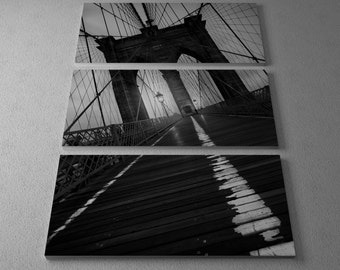 Brooklyn Bridge Study I by Moises Levy Gallery Wrapped Canvas Triptych Print