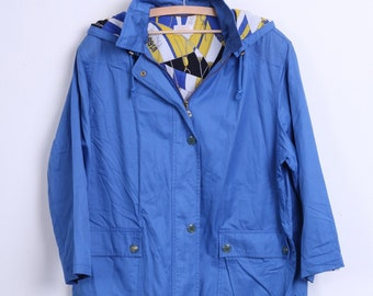 Classsic Sports By Lucia Womens 42 XL Jacket Royal Blue Hood Cotton