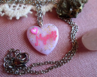 """Necklace me """"handmade"""" pink and varnished polymer clay, fimo, lolita, babydoll, gift, pink, heart, pendant, women jewelry"""