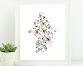 Floral Christus Digital Print+ FREE SHIPPING Christ, Christ Painting, Christ Watercolor, LDS Painting