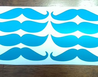 "Set of 6     3"" Vinyl mustache Stickers  Tons of colors to choose from"