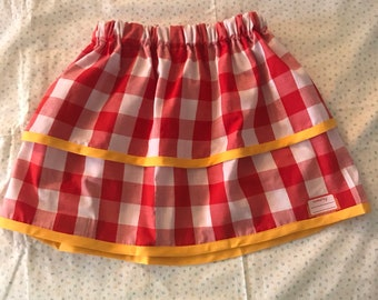 Gingham Checked little Girls Picnic Skirt, summer skirt, twirl skirt, toddler skirt, school girl skirt, double ruffles, personalized label