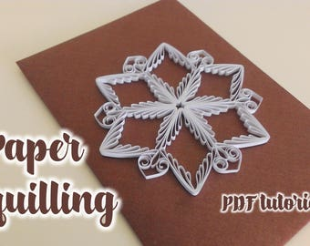Paper quilling pattern, step-by-step tutorial, DIY ornament christmas decoration, paper embellishment (QD12) - DIY, PDF, Instant download