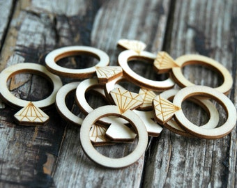 10 pcs . Wood Wedding Rings . Rustic Bridal Shower Decorations . Bridal Shower Favors . Bridal Shower Games . Rustic Wedding Decorations
