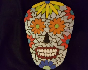 Mosaic Sugar Skull with Floral