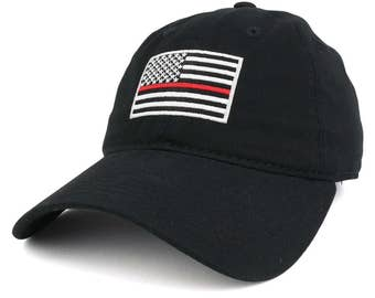 Thin Red Line Embroidered USA Flag Soft Fit Washed Cotton Baseball Cap (A03-TRL)