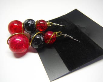 Red and gold earrings, beaded earrings, red earrings, black earrings, red and black earrings