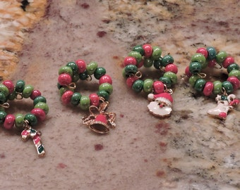 Sale!! Santas N' Elves, Oh my! Christmas Wine charms, Wine rings, New charms! New beads! Your set, you choose!
