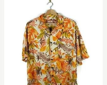 ON SALE Men's Orange Hawaiian shirt from 90's