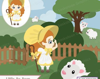 Little Bo Beep Lost Her Sheep Clipart - Instant Download File - Digital Graphics - Crafts - Commercial & Personal Use - #S015