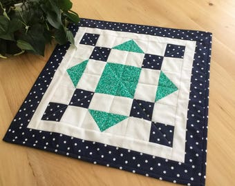Blue and Green Handmade Quilted Table Topper Navy Blue and Kelly Green Quilted Square Runner or Centerpiece