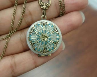 Teeny tiny Victorian Vintage Locket- Anniversary Bride Bridesmaid gift Wedding Birthday Sister Mom Daughter something blue mother's day gift