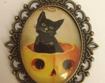 Vintage Black Cat & His Pumpkin Necklace