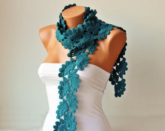 Crochet scarf  - long knitting scarf -wool blend yarn