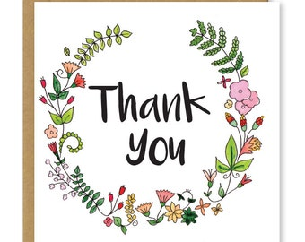 Floral thank you card | Thanks, thankyou | Beautiful greetings card
