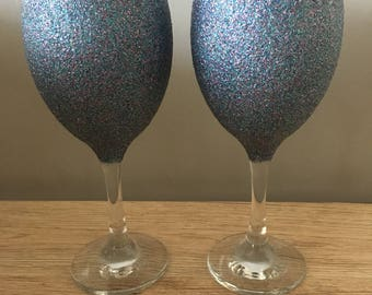 Pair of blue glitter glasses