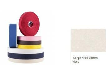 Ribbon, Twill, cotton, ecru, 36 mm, strap, tote bag