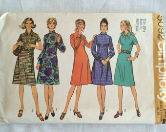 Vintage 1972 UNCUT New Simplicity 5092 Women's Size 16-1/2 Bust 29 Dress with Two Necklines Pattern