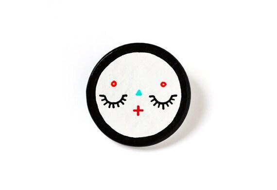 Handpainted wooden brooch -  sleepy cute character - round, disc, circle - kawaii brooch