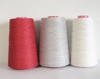 3 color yarn set Linen Yarn 3 Ply Yarn White Linen Yarn Grey Linen Red Yarn Linen for Crocheting Yarn for Knitting 500 g 1500 g