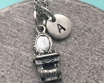 Vanity necklace, vanity charm, makeup vanity necklace, personalized necklace, initial necklace, initial charm, monogram