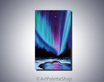 Northern lights painting Aurora borealis Night sky Aurora canvas Art Northern lights painting canvas Starry sky Gift for him Valentine's day