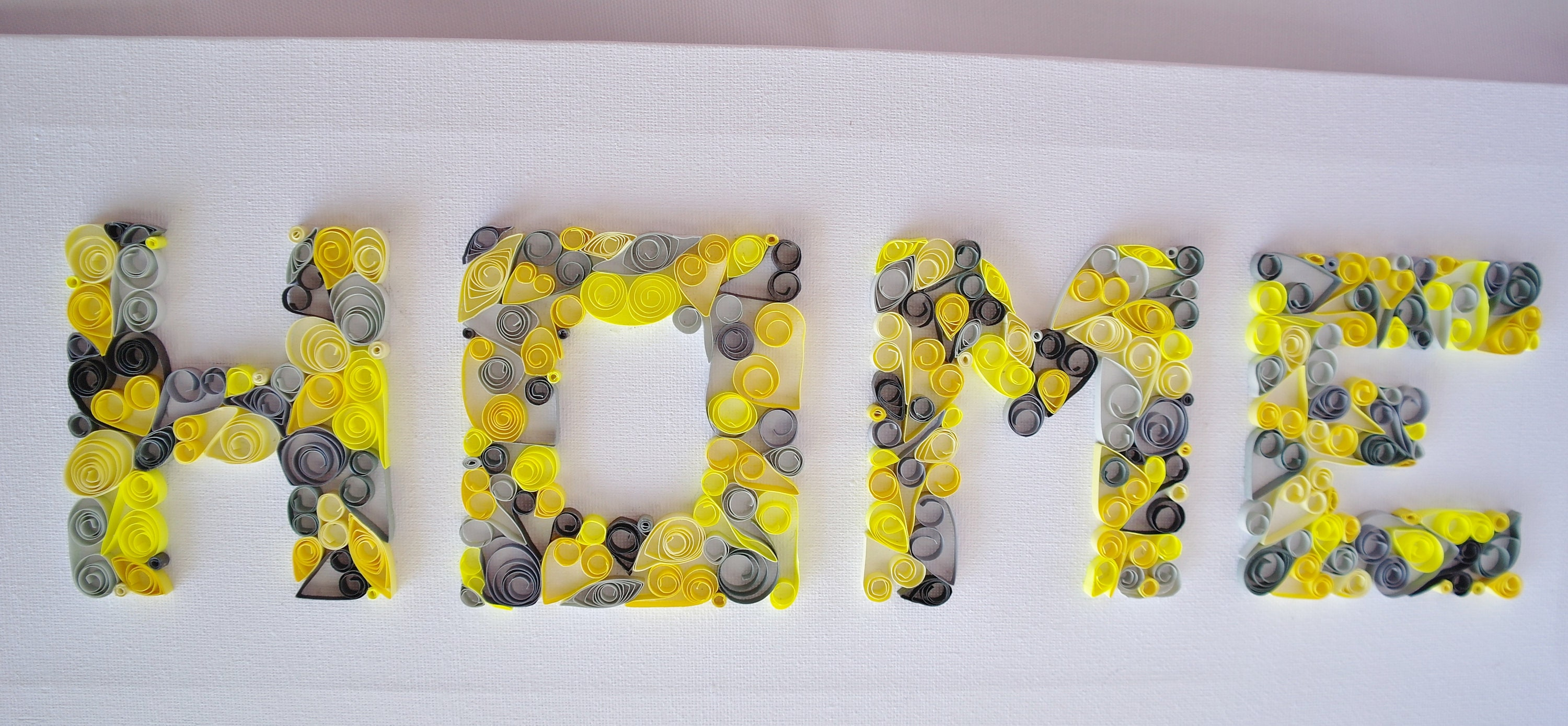 Quilled art quilled word home wall art yellow and grey