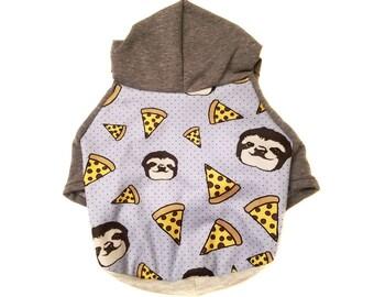 Sloth Pizza Dog Hoodie, Dog Clothing, Dog Outerwear, Dog Accessories, Dog Jacket, Dog Sweater,Sloth, Pizza