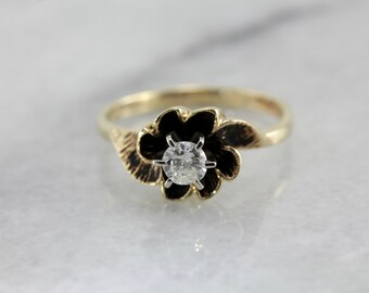 Diamond Solitaire in Floral Setting, Alternative Engagement, Birthstone or Anniversary Ring WPD0V5-R