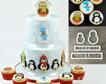 Cartoon Penguin Cookie Cutter Set - SLH531 - Banner Streamer Mold Party Biscuit Gumpaste Fondant Sugarcraft Sugar Cutter