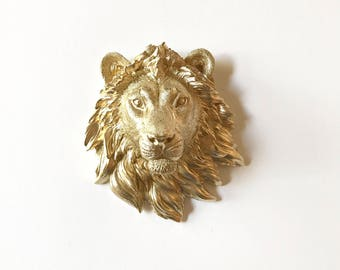 SMALL GOLD Faux Taxidermy Lion Head in GOLD Wall Mount Safari wall hanging  mini animal head faux taxidermie fake animal head safari wall
