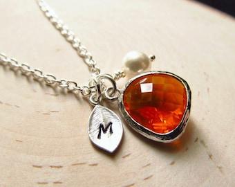 Topaz Necklace, November Birthstone Necklace, Initial Necklace, Birthstone Jewelry, November Birthday Jewelry, Personalized Necklace