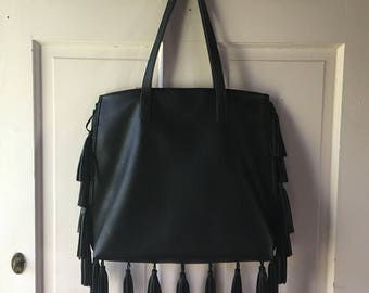 Black Leather FRINGE Purse || Tribal design inside.
