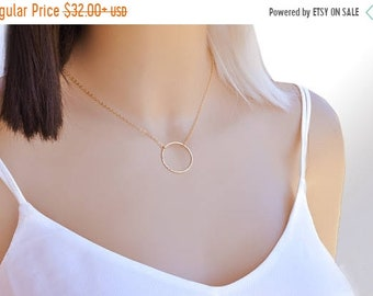 ON SALE Simple Circle Necklace, Delicate Circle Necklace, Gold Filled Circle Necklace, Dainty circle necklace, Karma necklace, Minimalist ne