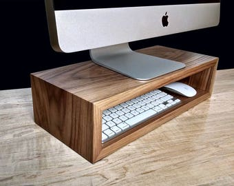Walnut Monitor Stand | Desk Organizer | Computer Riser | Desktop Storage  Cubby | Laptop Dock