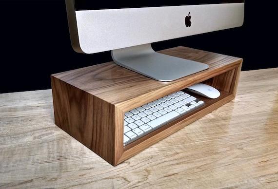 Walnut Monitor Stand Desk Organizer Computer Riser
