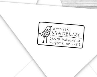 Custom address stamp with tall bird--122TS