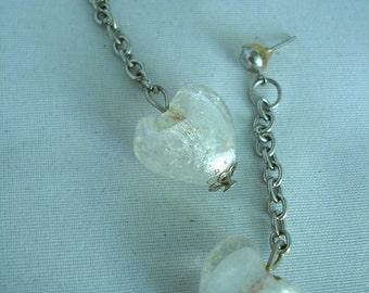 White Murano Glass Heart Earrings - Studs - Dangling - Fashion Jewelry - Nickelfree - Heartbead