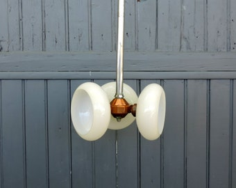Vintage French Art Deco cream coloured glass, copper and chrome, pendant lamp ceiling light