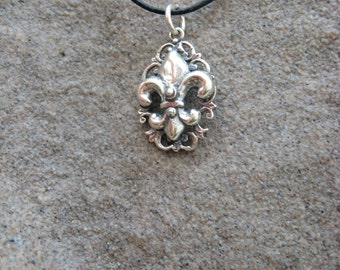 Sterling Fleur de lis Sterling Silver Pendant on a Leather Necklace