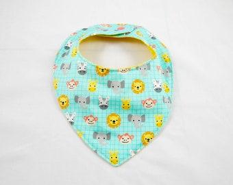 Teething bib, dribble bib, bandana, cotton bandana, baby bandana, animals, scarf, baby scarf, lion, monkey